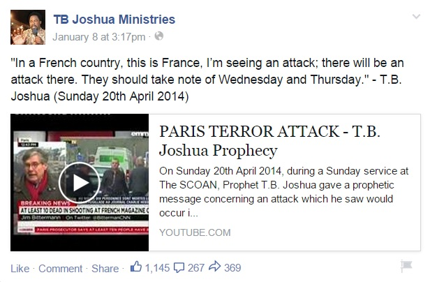 Opportunist TB Joshua Uses Islamic Terrorist Attack In Paris To